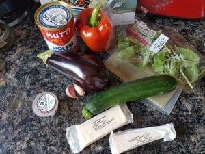 Ingredients for Gousto Four veg ratatouille lasagne.
