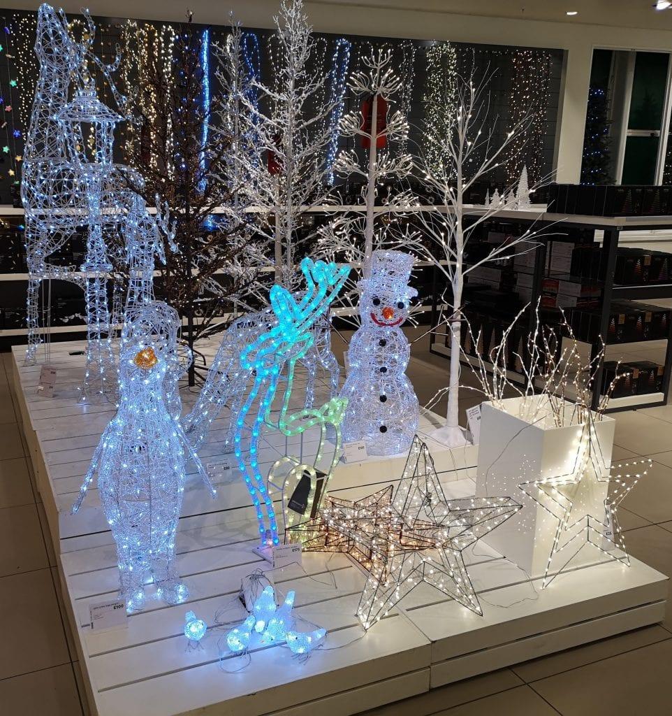 John Lewis Christmas Shop, lights, snowman, reindeer, star