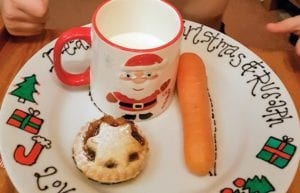 father christmas plate, santa plate, mince pie, carrot