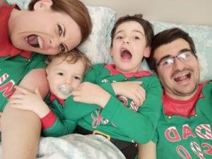 matching family christmas payjamas, elf pyjamas, mummy elf, daddy elf, big brother elf