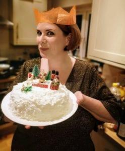 glitter dress, christmas style, christmas cake