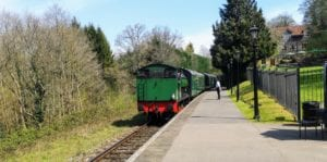 Spa Valley Railway, High Rocks Station. Ugly the steam train approches the platform