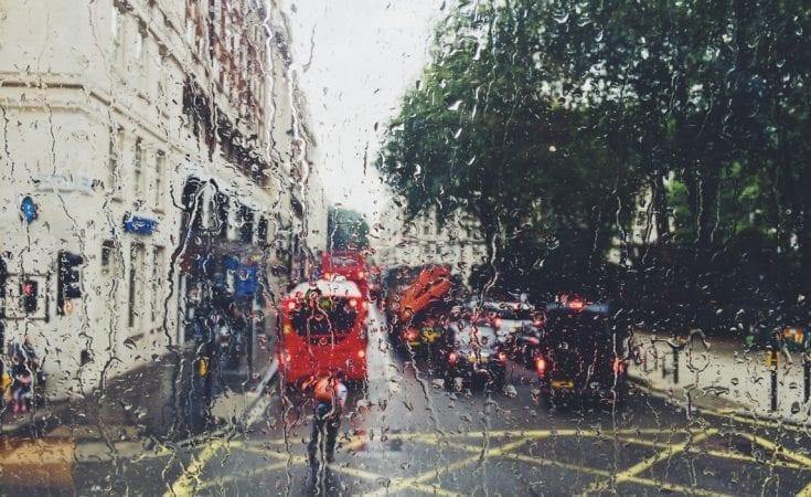 window with rain outside