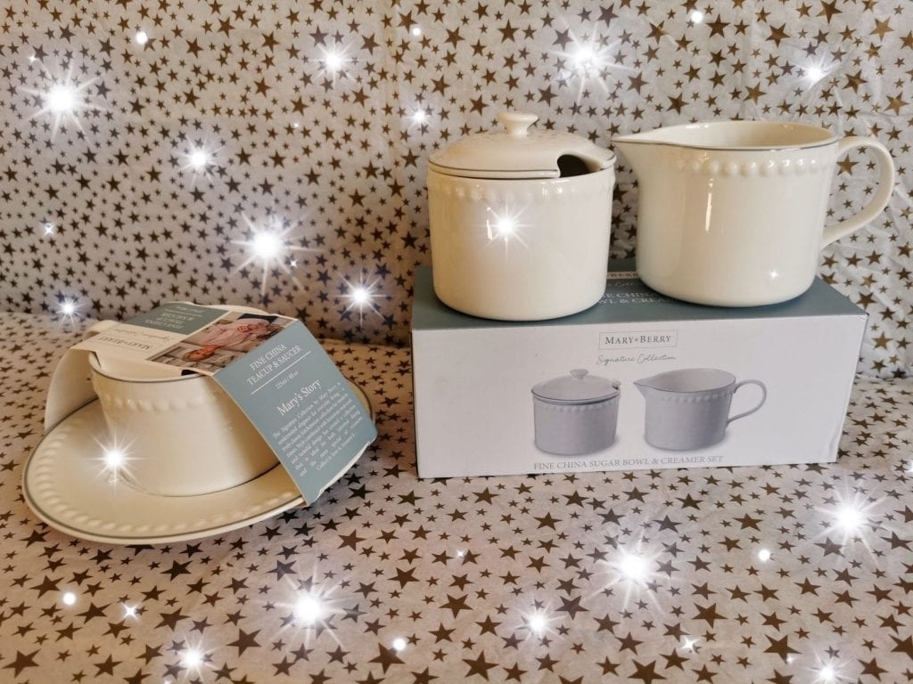 Mary Berry Signature collection. Set of cau and saucer, sugar bowl and milk jug. All white with dainty beading and silver stripe around the top