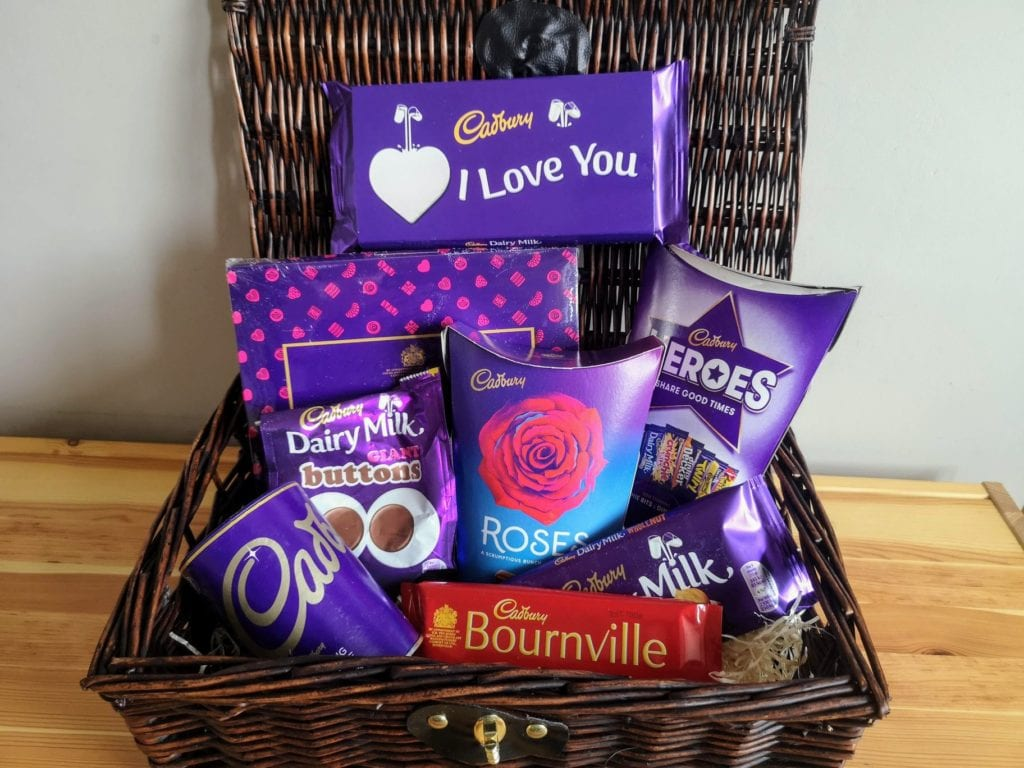 valentines day gift, cadbury hamper, chocolate hamper