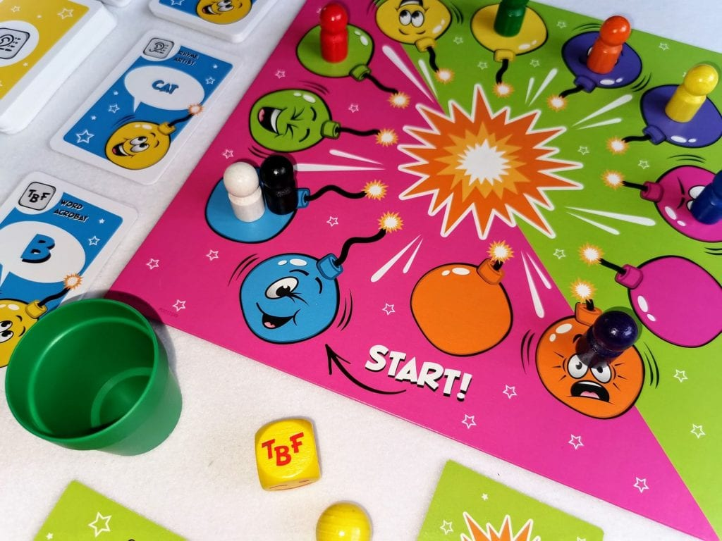 Pass the bomb board game, set up with pieces