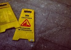 Yellow hazard cleaning sign
