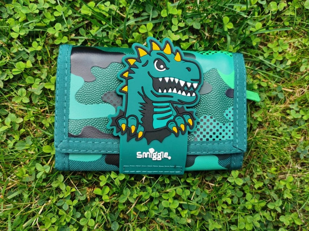Smiggle Wallet. Green childs wallet with dinosaur motif