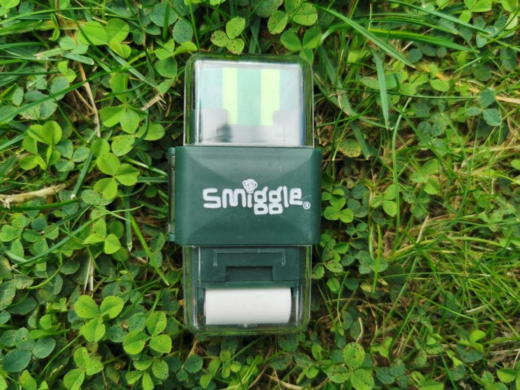 Smiggle Eraser and pencil sharpener, green with white rubber