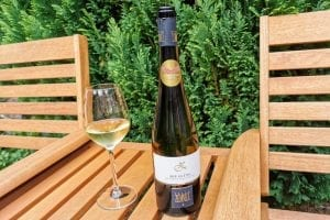 Bottle of white wine and glass with white wine on wooden garden furniture with green bush backdrop