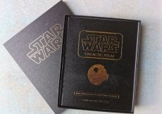 Star Wars Glactic Atlas, bookk and boc. Black, leatherette with gold embossed wording