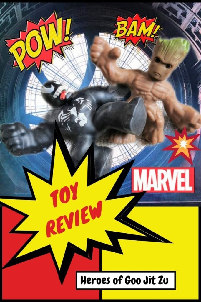 Marvel Heroes of Goo Jit Zu - Venom and Groot toys on a comic strip style background