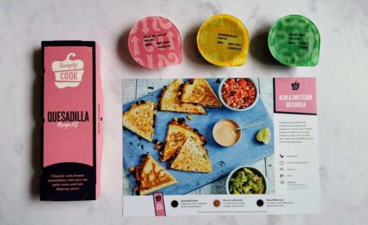 Bean & sweetcorn quesadilla Simplycook box, spice pots and recipebox