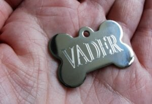 First dog essentials - A silver bone shaped ID tag with the name VADER inscribed